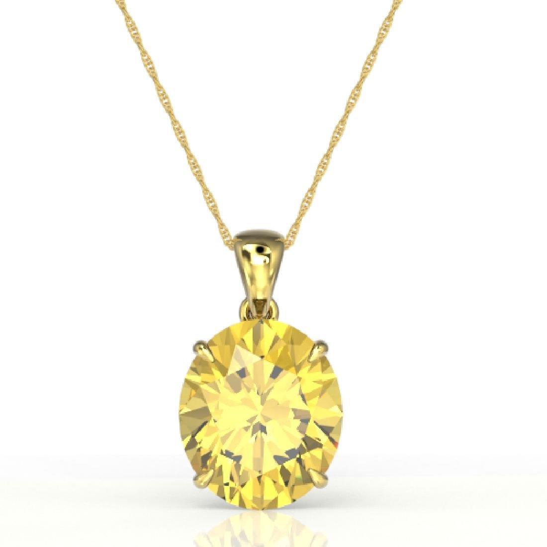 9 CTW Citrine Designer Solitaire Necklace 18K Yellow - 2