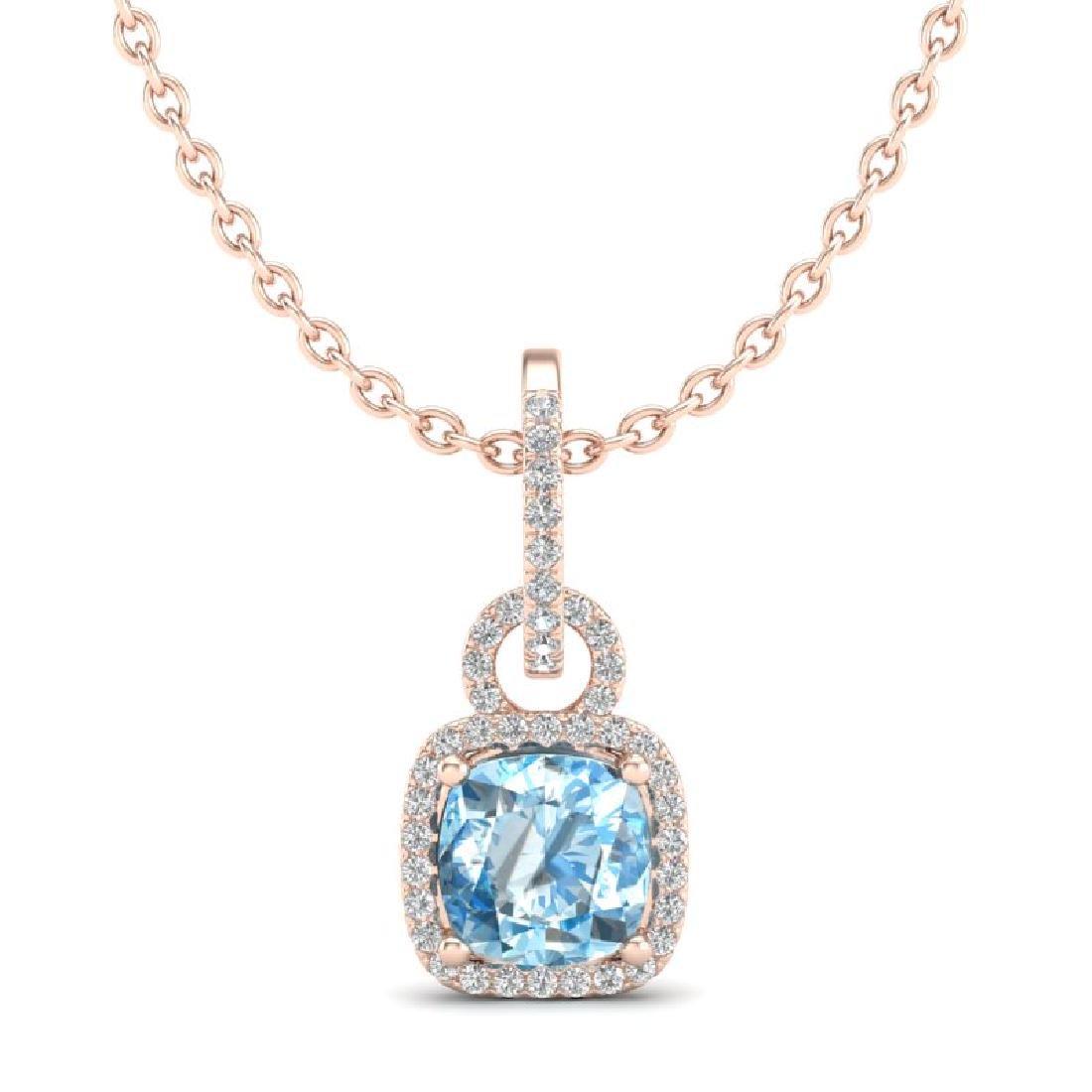 3.50 CTW Topaz & Micro VS/SI Diamond Necklace 14K Rose - 2
