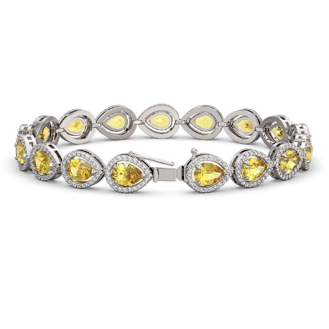15.91 CTW Fancy Citrine & Diamond Halo Bracelet 10K - 2