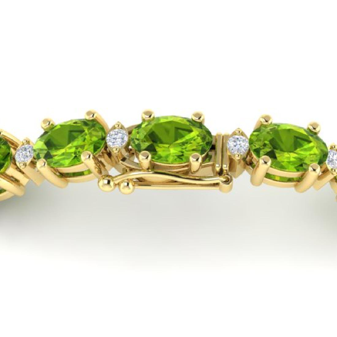 13 CTW Peridot & VS/SI Diamond Eternity Bracelet Yellow