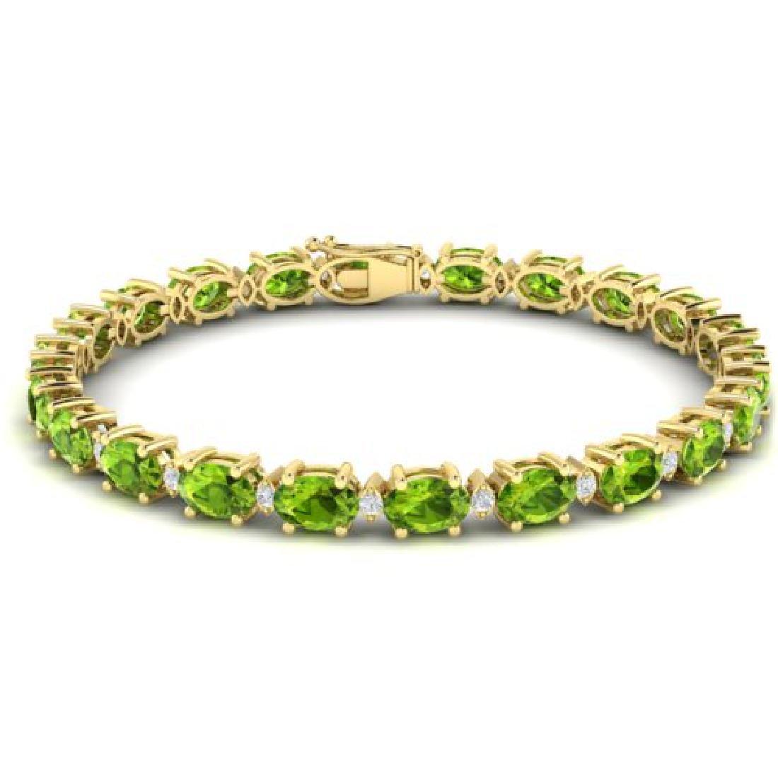 13 CTW Peridot & VS/SI Diamond Eternity Bracelet Yellow - 2