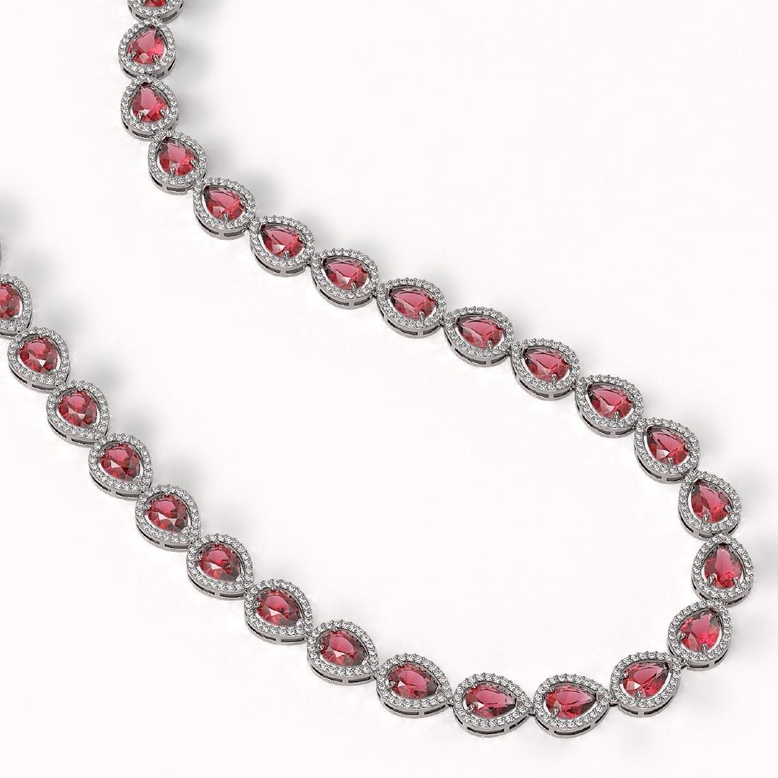 35.13 CTW Tourmaline & Diamond Halo Necklace 10K White - 2