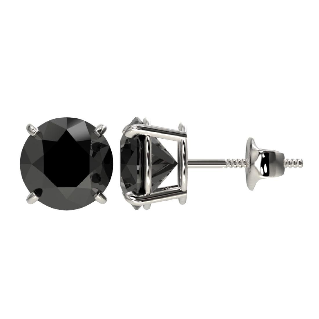 2.60 CTW Fancy Black VS Diamond Solitaire Stud Earrings - 2