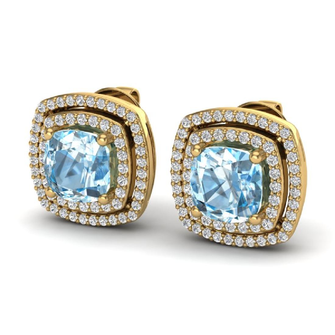 4.05 CTW Sky Blue Topaz & Micro VS/SI Diamond Halo