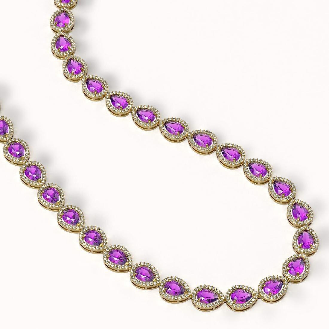 35.13 CTW Amethyst & Diamond Halo Necklace 10K Yellow - 2