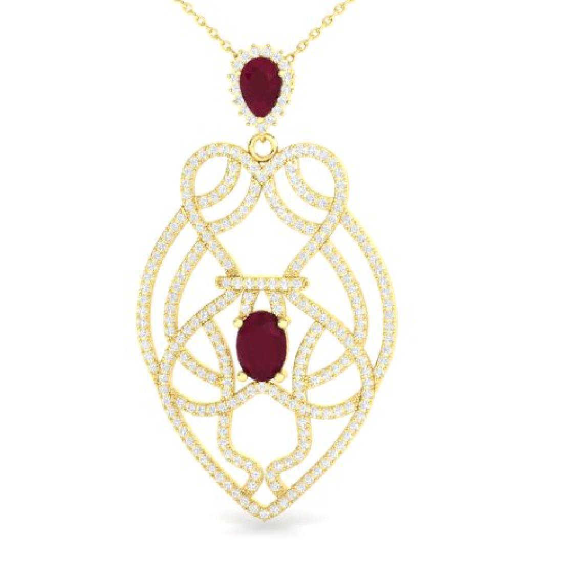 3.50 CTW Ruby & Micro VS/SI Diamond Heart Necklace