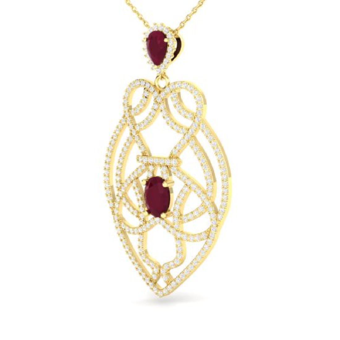 3.50 CTW Ruby & Micro VS/SI Diamond Heart Necklace - 2