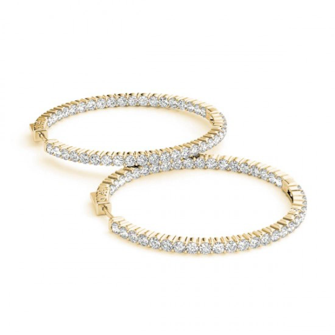 3 CTW Diamond VS/SI Certified 32 Mm Hoop Earrings 14K
