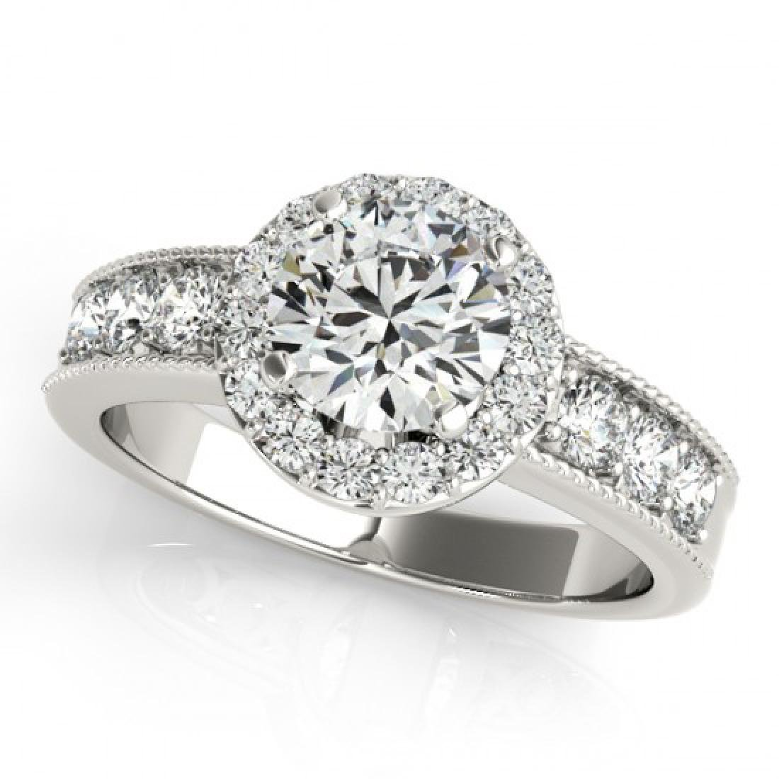 1.85 CTW Certified VS/SI Diamond Solitaire Halo Ring