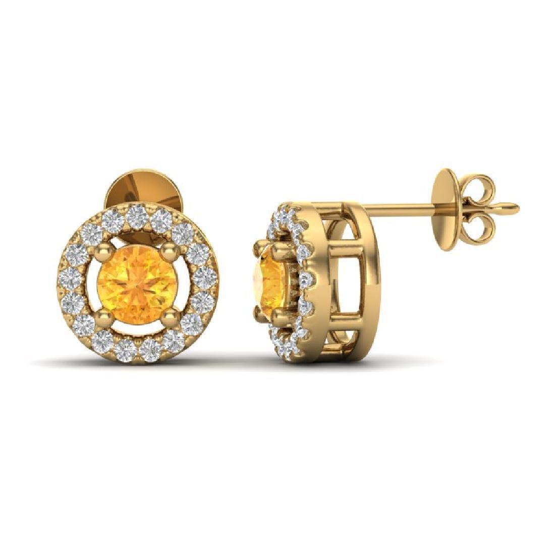 0.75 CTW Citrine & Micro Pave VS/SI Diamond Earrings - 2