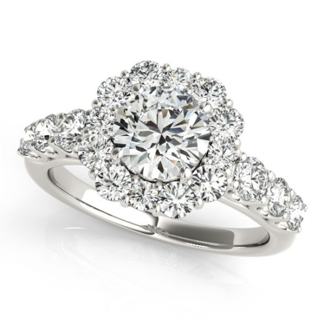 2.9 CTW Certified VS/SI Diamond Solitaire Halo Ring 14K