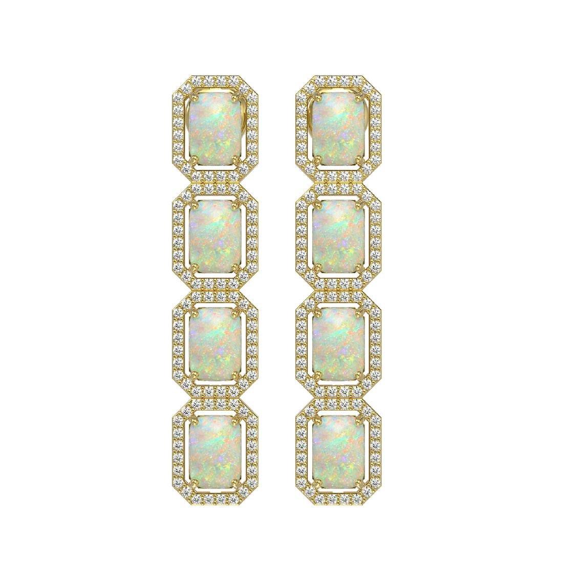 7.93 CTW Opal & Diamond Halo Earrings 10K Yellow Gold