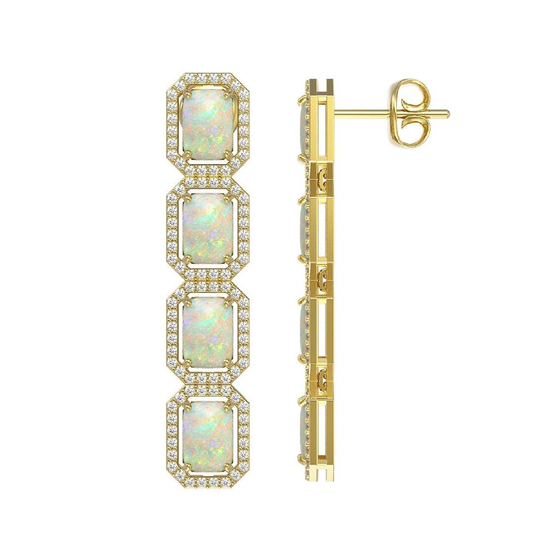 7.93 CTW Opal & Diamond Halo Earrings 10K Yellow Gold - 2