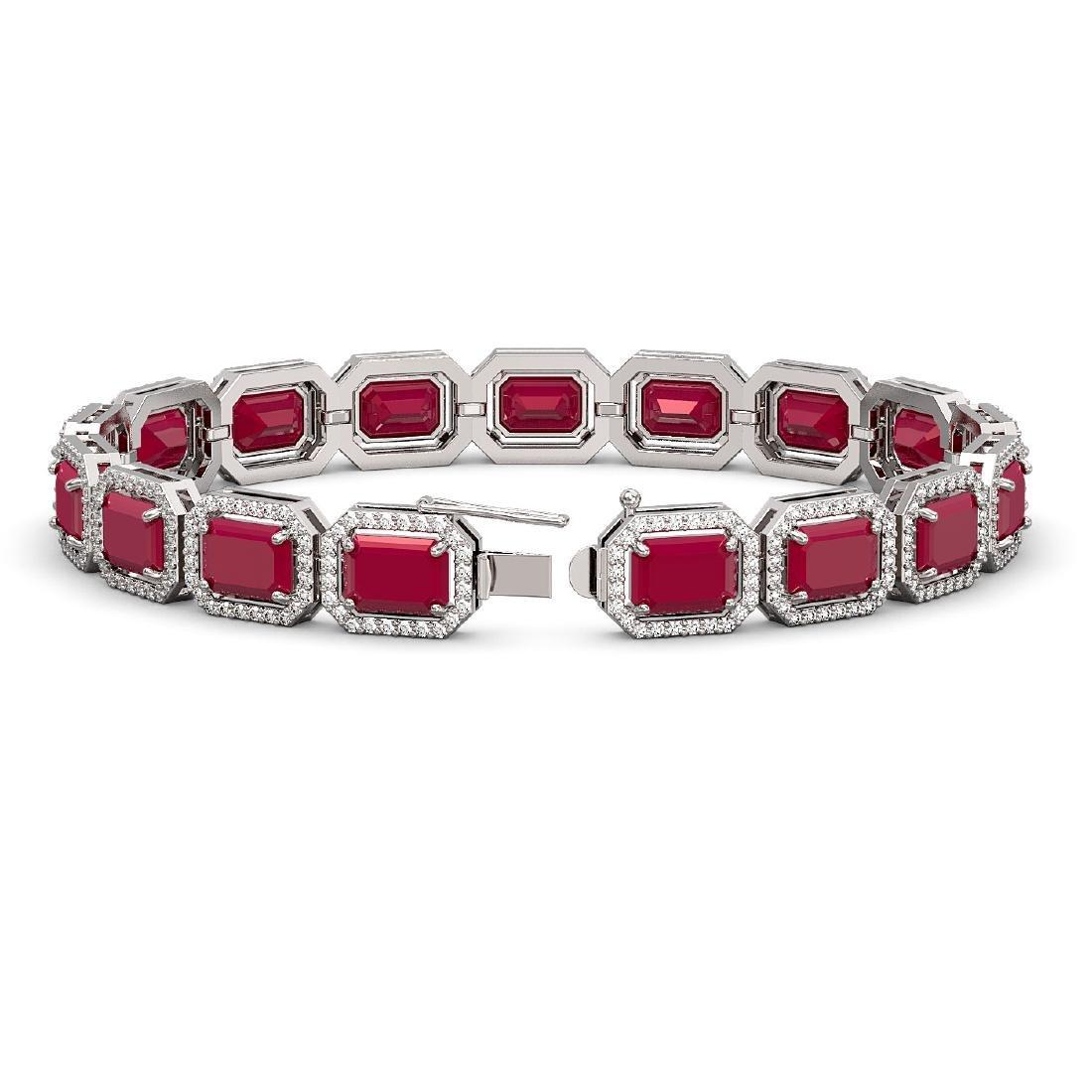 26.21 CTW Ruby & Diamond Halo Bracelet 10K White Gold - 2