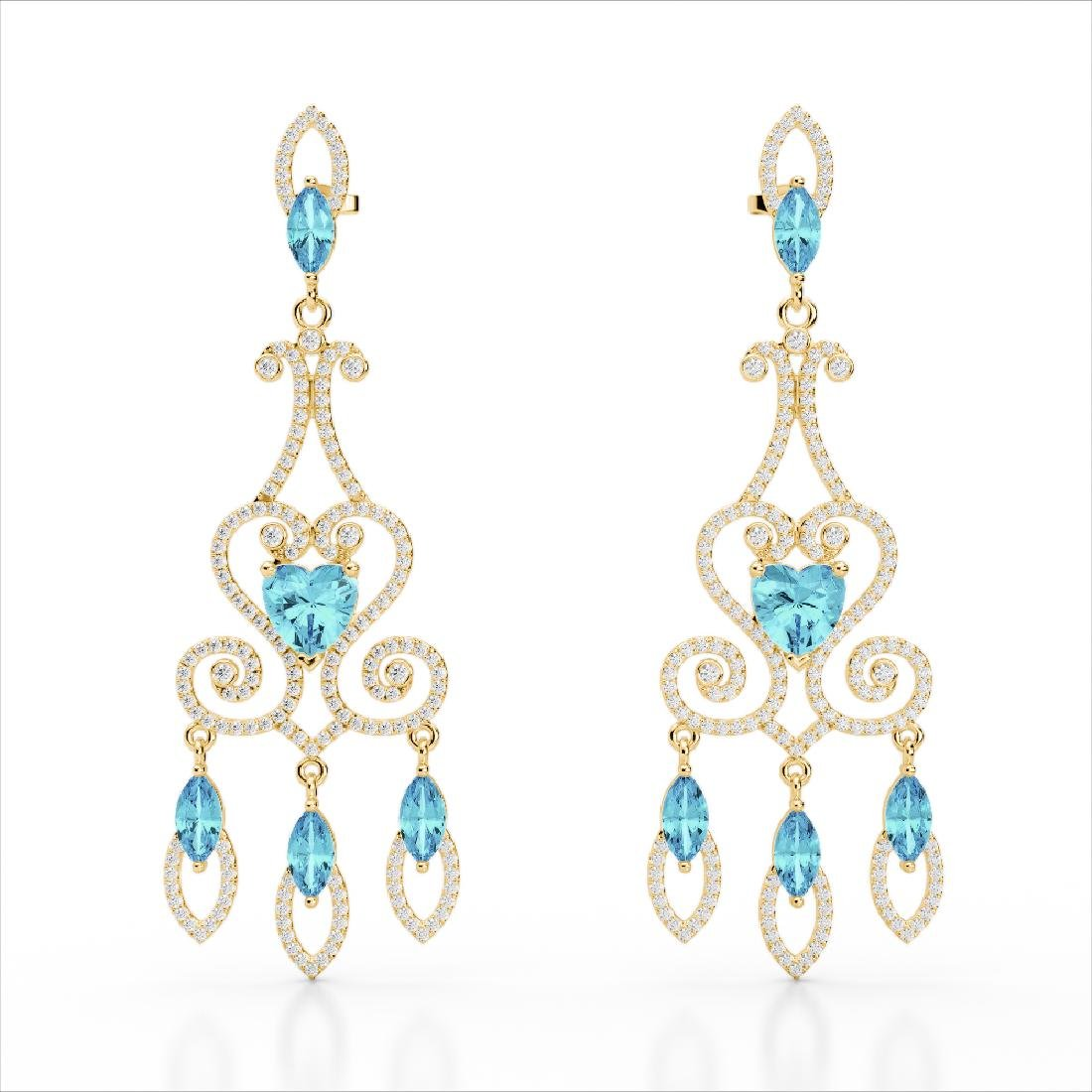 11 CTW Sky Topaz & Micro Pave VS/SI Diamond Earrings - 2