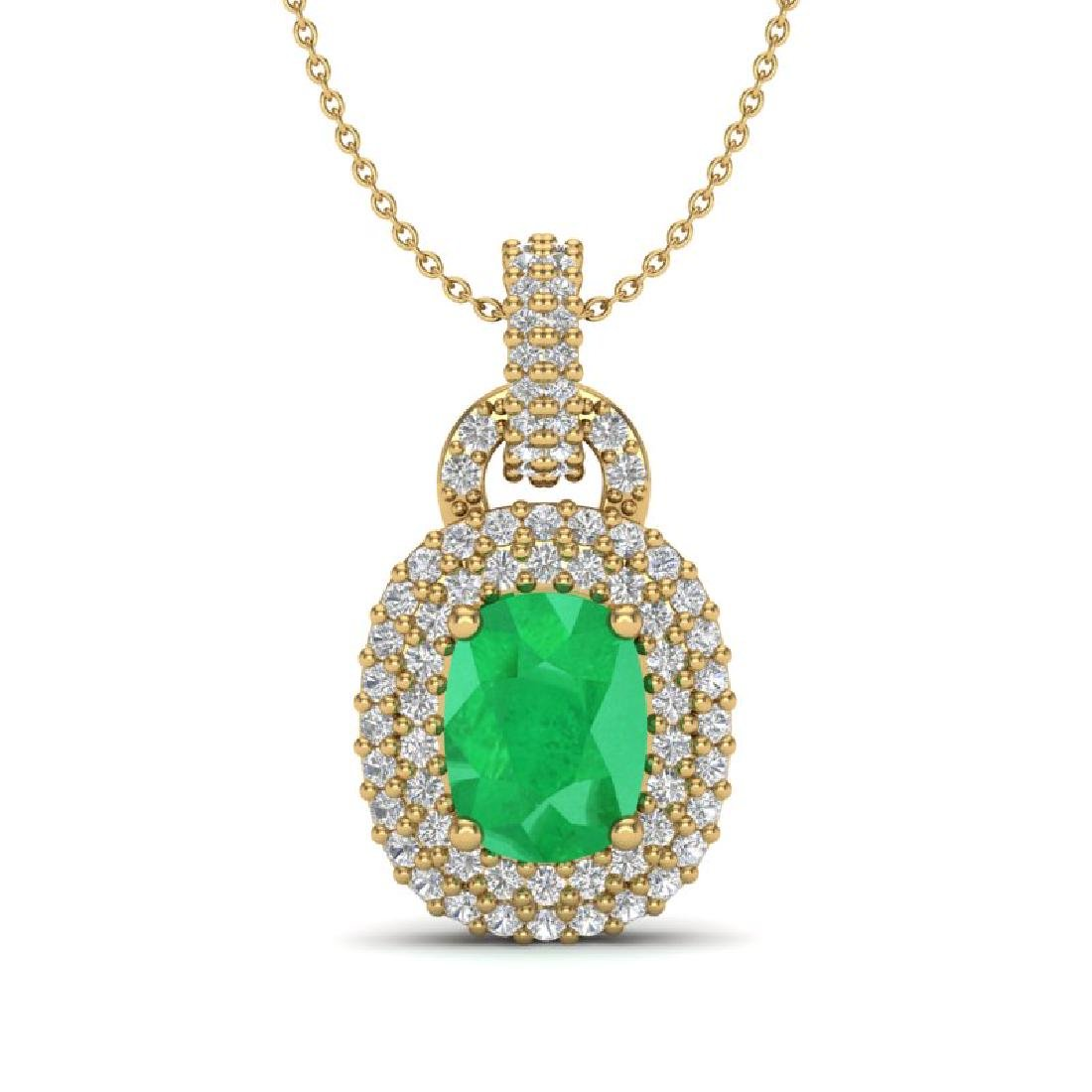 2.50 CTW Emerald & Micro Pave VS/SI Diamond Necklace