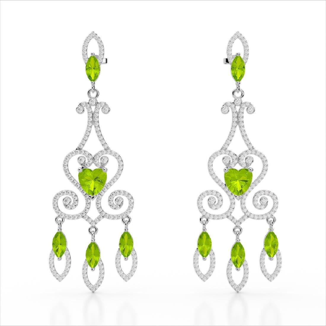11 CTW Peridot & Micro Pave VS/SI Diamond Earrings 14K - 2