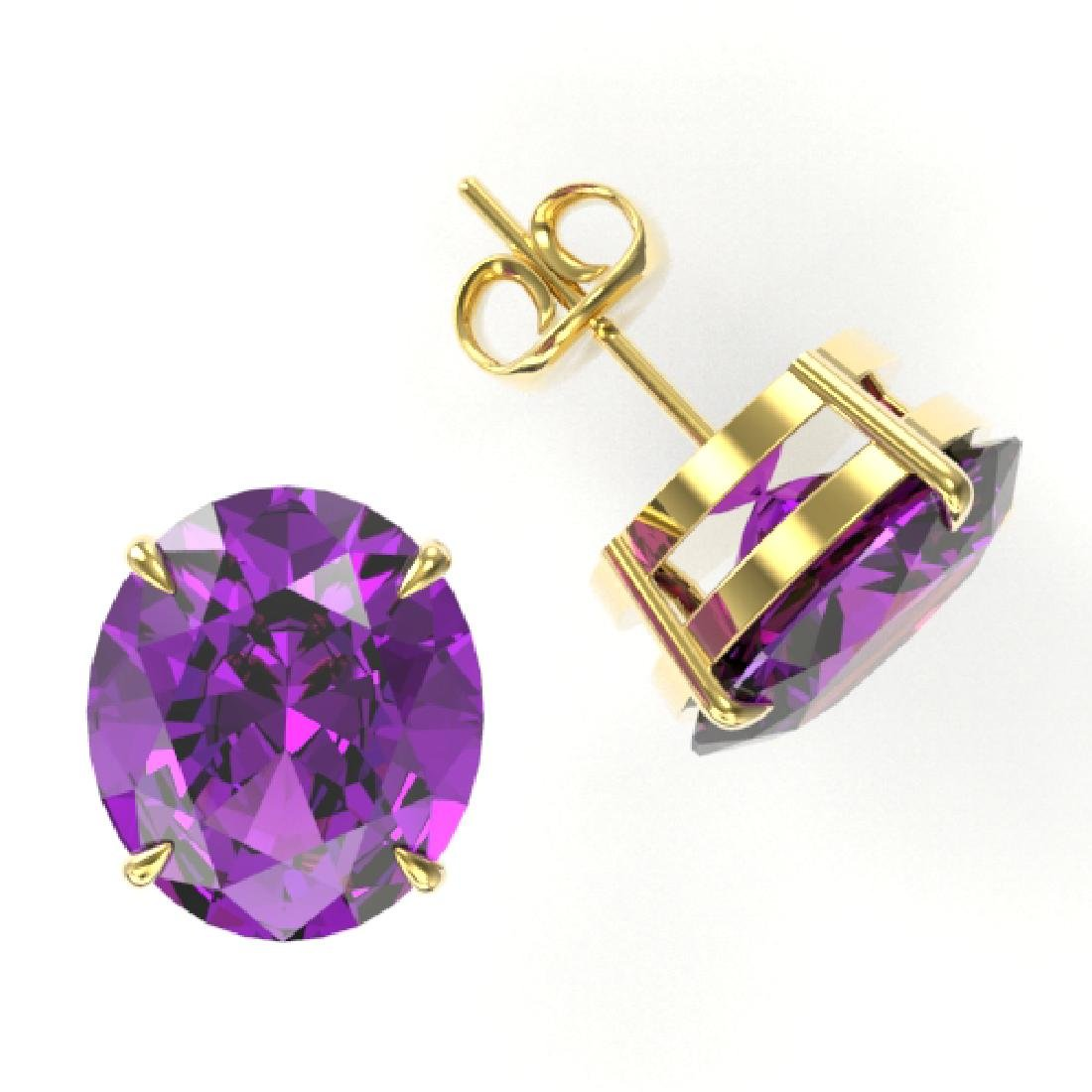 18 CTW Amethyst Designer Solitaire Stud Earrings 18K - 2