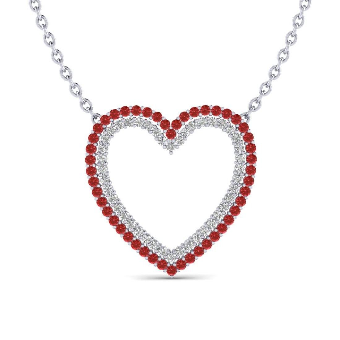 2.50 CTW Red Sapphire & VS/SI Diamond Heart Halo