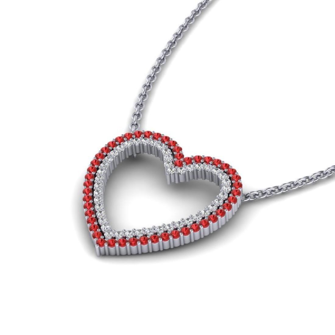 2.50 CTW Red Sapphire & VS/SI Diamond Heart Halo - 2
