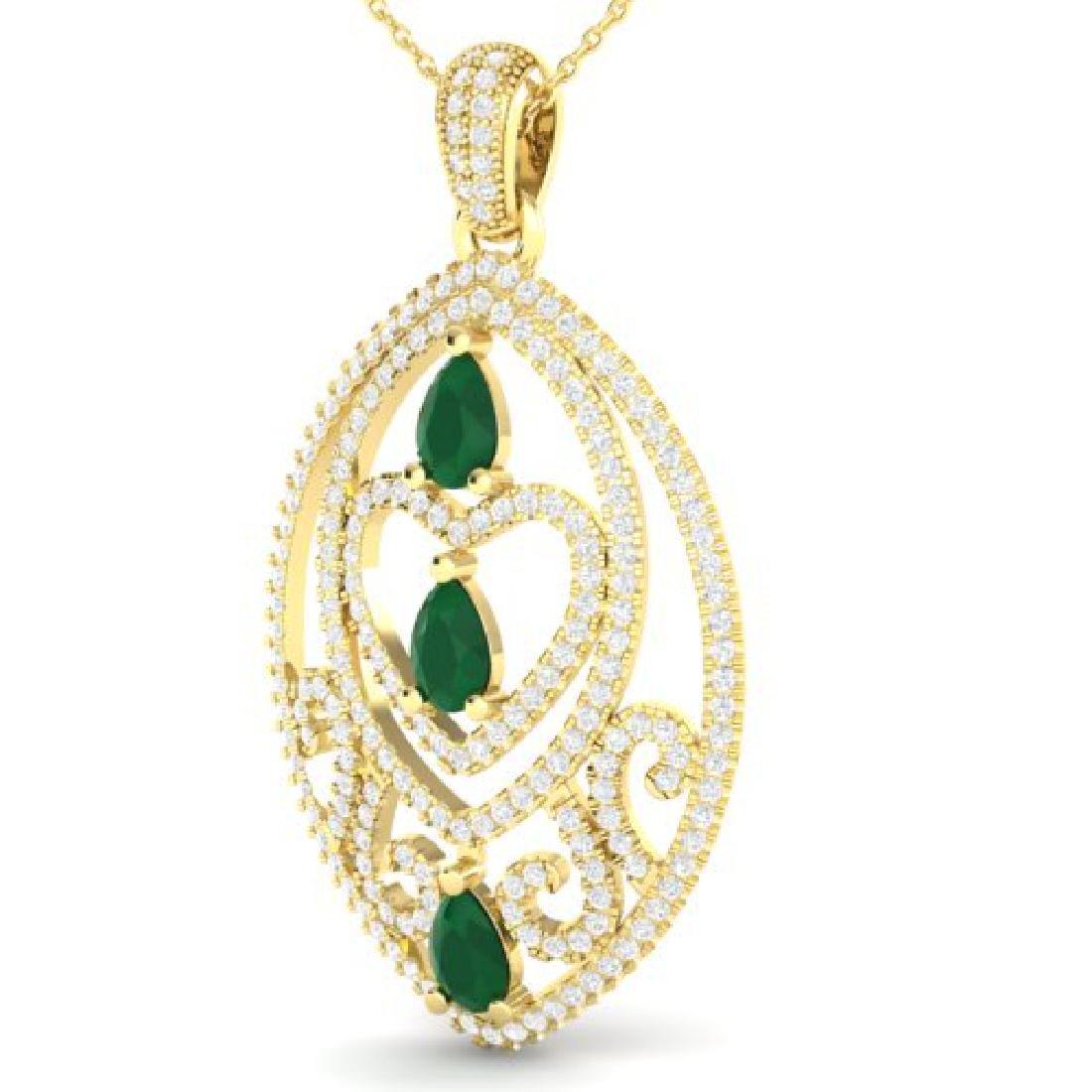3.50 CTW Emerald & Micro Pave VS/SI Diamond Heart - 2