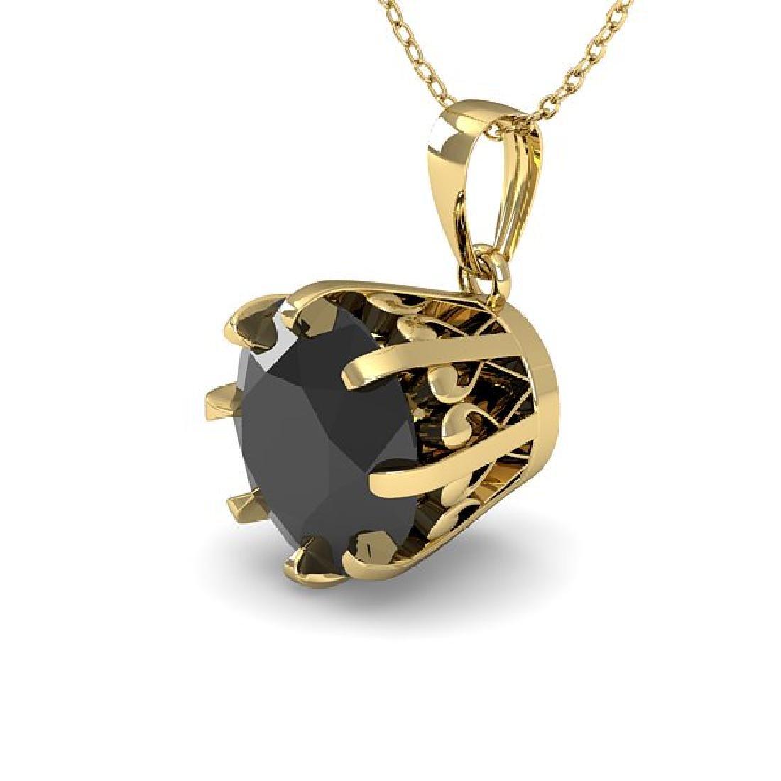 1 CTW Black Diamond Solitaire Necklace 14K Yellow Gold