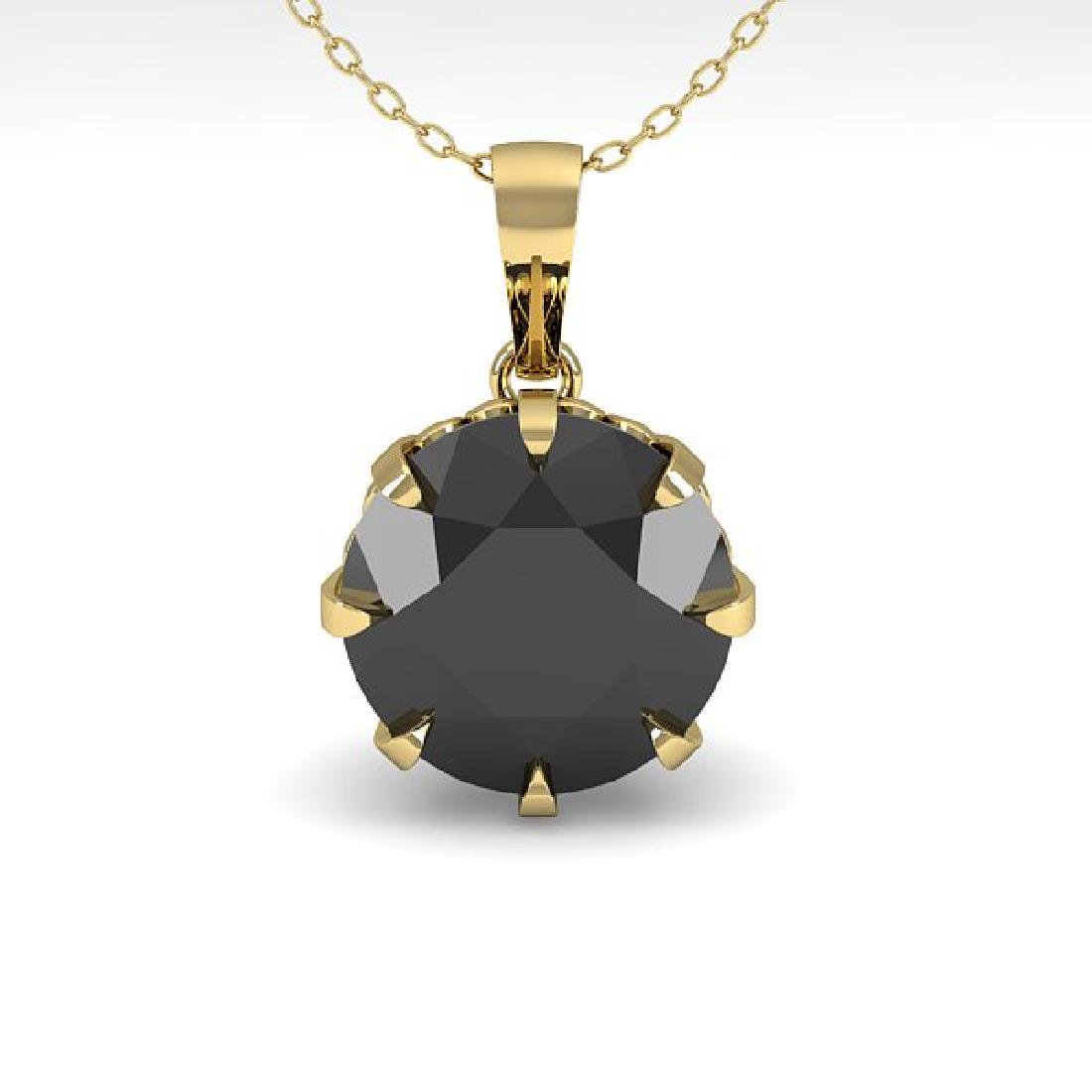 1 CTW Black Diamond Solitaire Necklace 14K Yellow Gold - 2