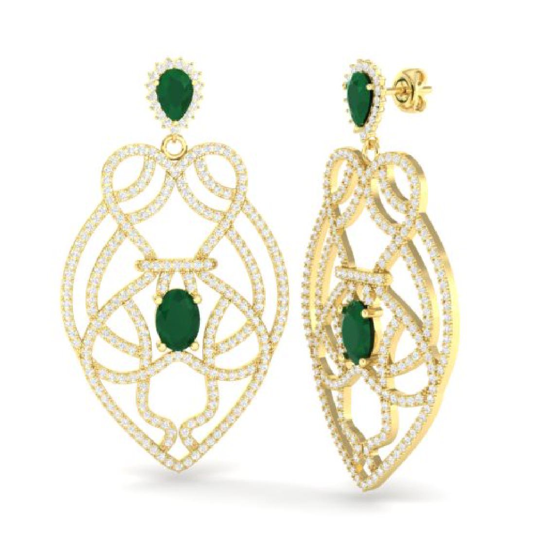 7 CTW Emerald & Micro VS/SI Diamond Heart Earrings - 2