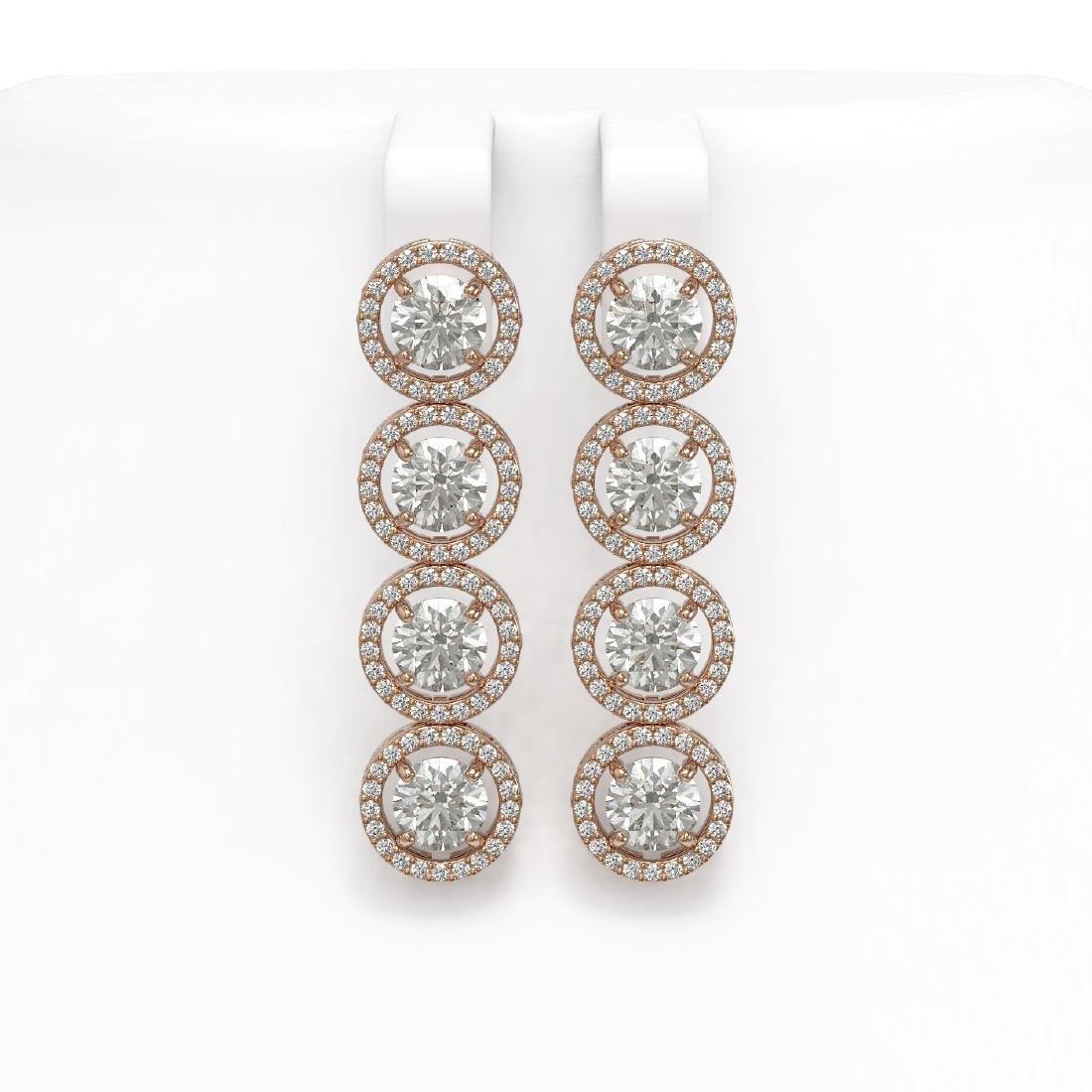 5.36 CTW Diamond Designer Earrings 18K Rose Gold