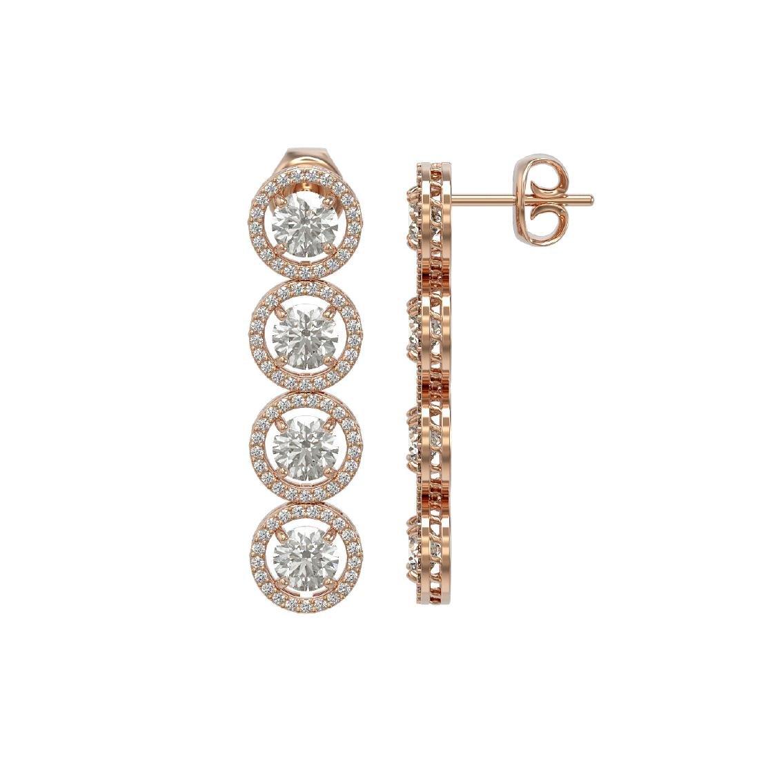 5.36 CTW Diamond Designer Earrings 18K Rose Gold - 2