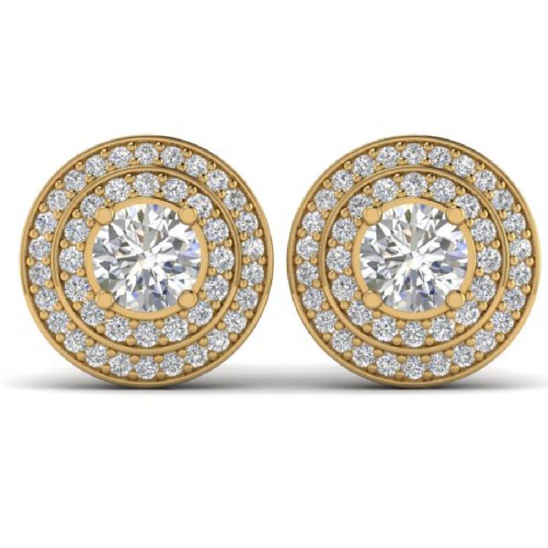 1.45 CTW I-SI Diamond Solitaire Art Deco Halo Stud