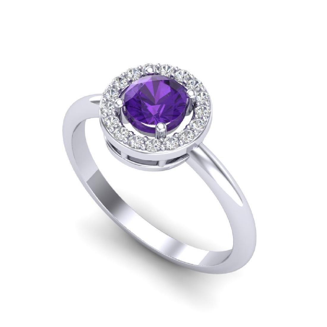 0.75 CTW Amethyst & Micro Halo VS/SI Diamond Ring 18K - 2