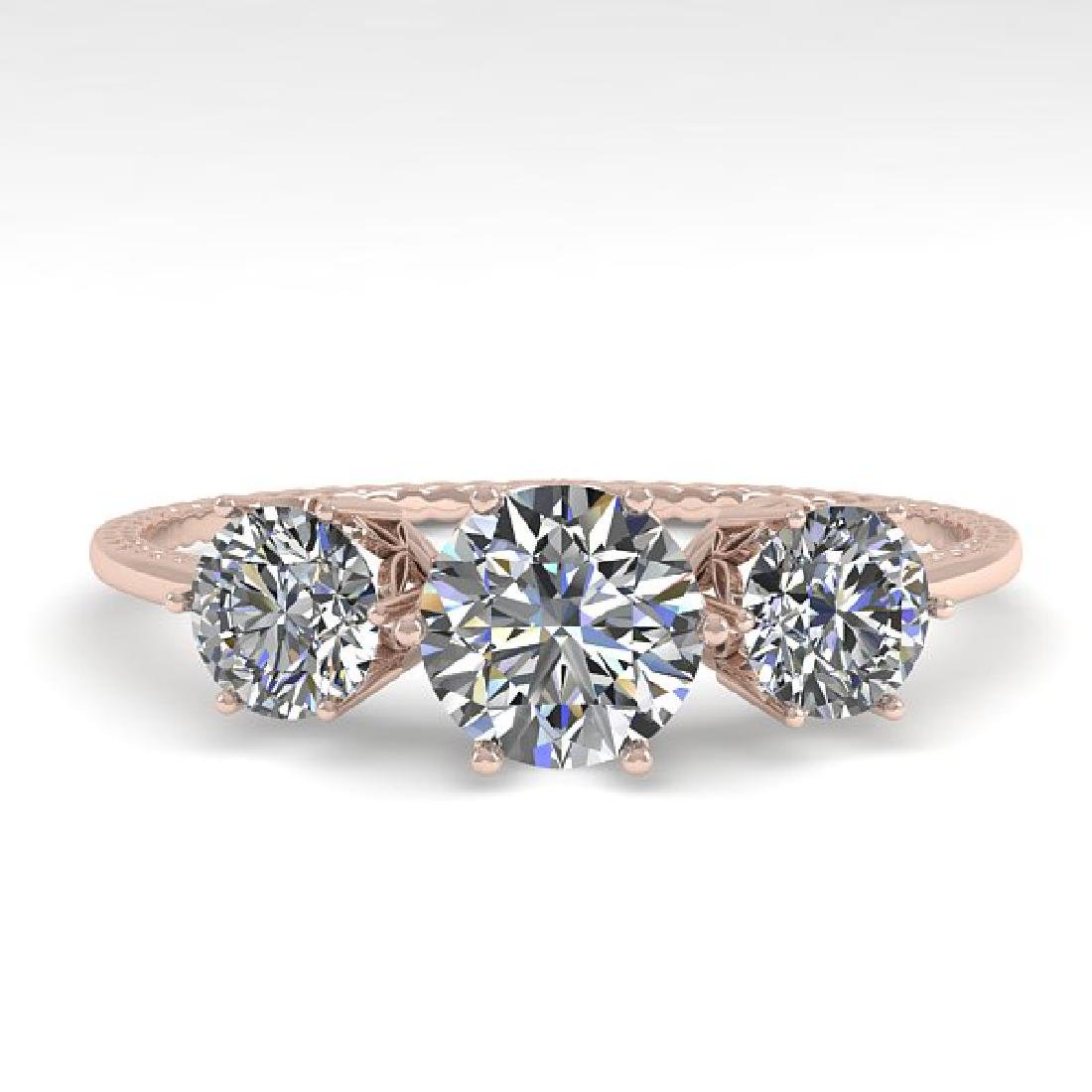 1 CTW VS/SI Diamond Art Deco Ring 14K Rose Gold