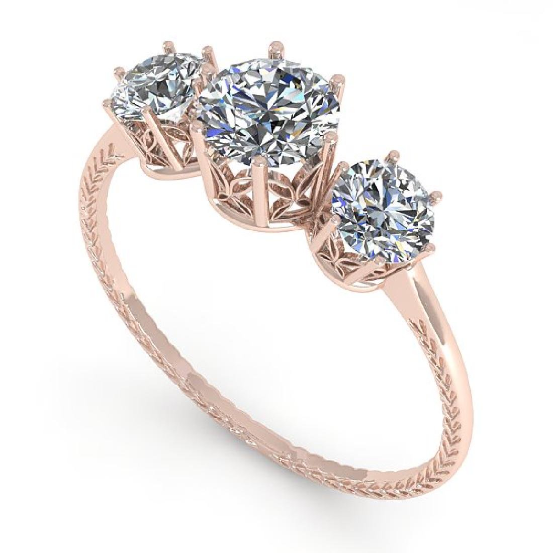 1 CTW VS/SI Diamond Art Deco Ring 14K Rose Gold - 2
