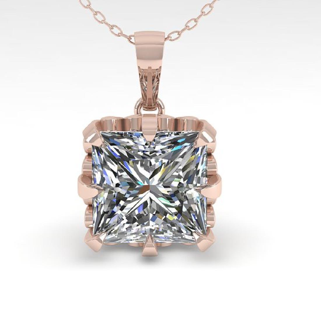 1 CTW VS/SI Princess Diamond Necklace 14K Rose Gold - 2