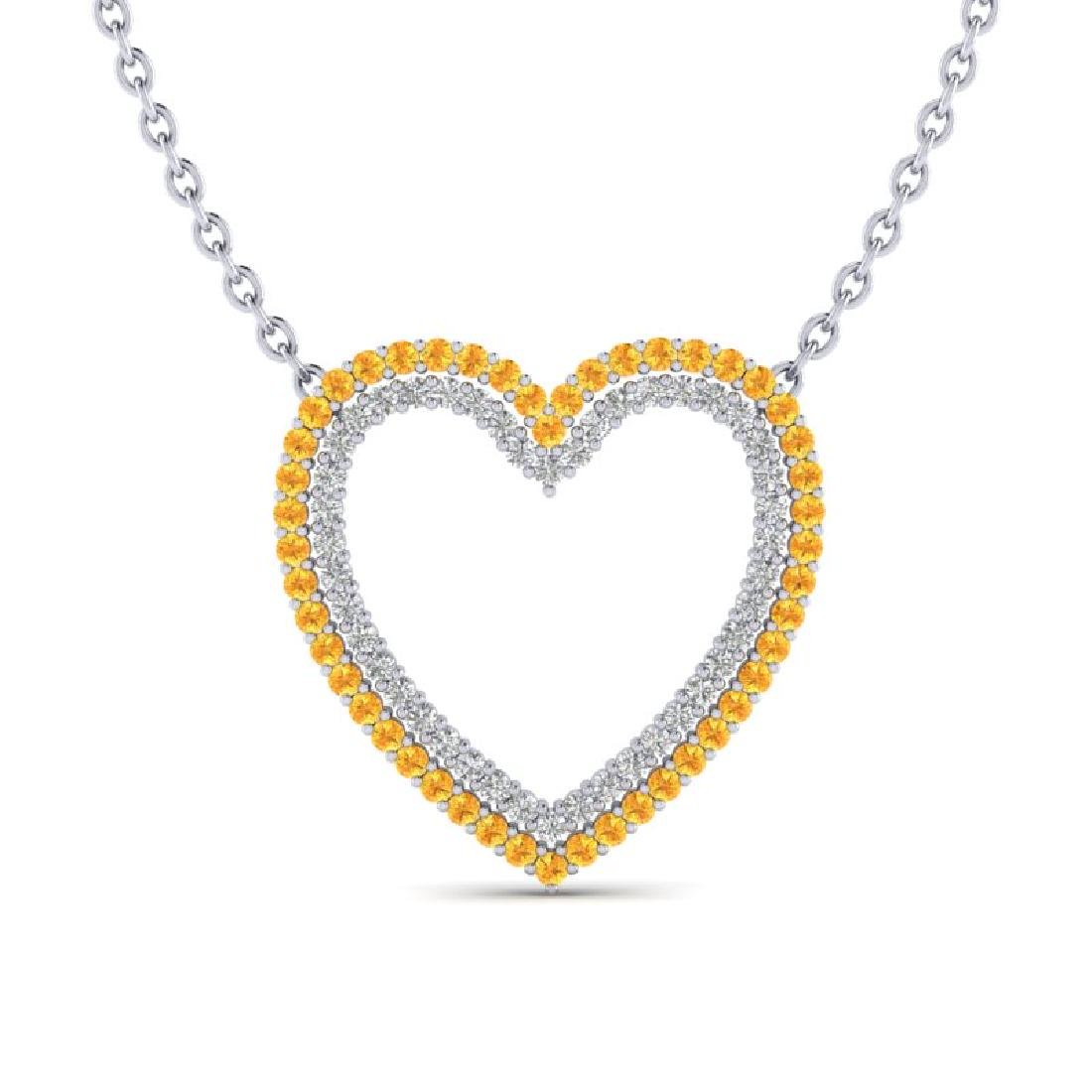 2.50 CTW Yellow Sapphire & VS/SI Diamond Heart Halo