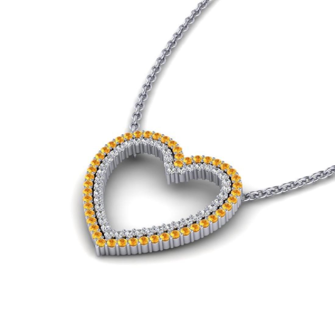 2.50 CTW Yellow Sapphire & VS/SI Diamond Heart Halo - 2