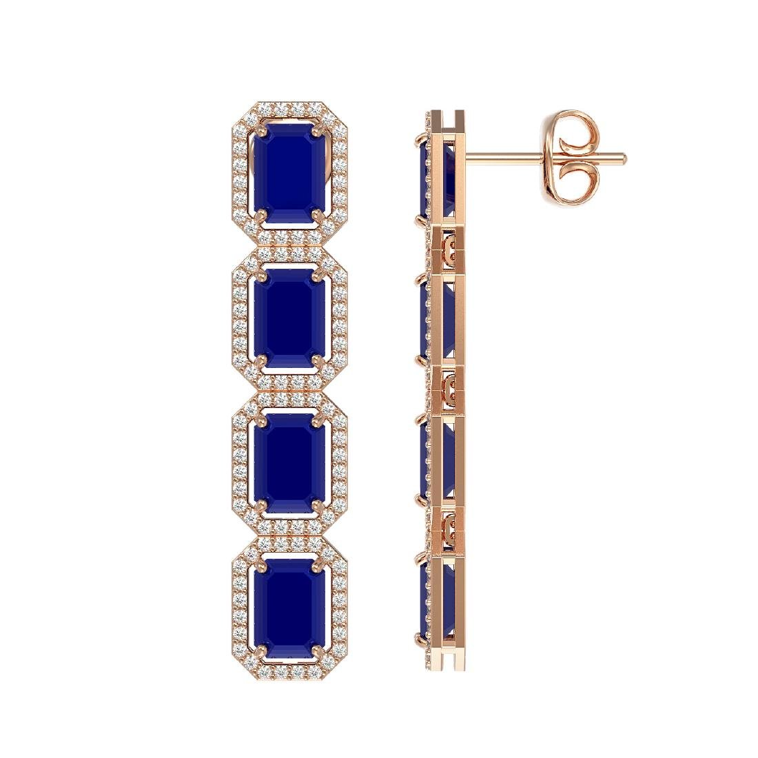 12.33 CTW Sapphire & Diamond Halo Earrings 10K Rose - 2