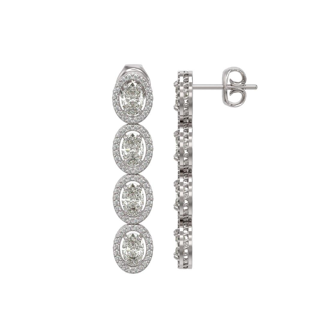5.33 CTW Oval Diamond Designer Earrings 18K White Gold - 2