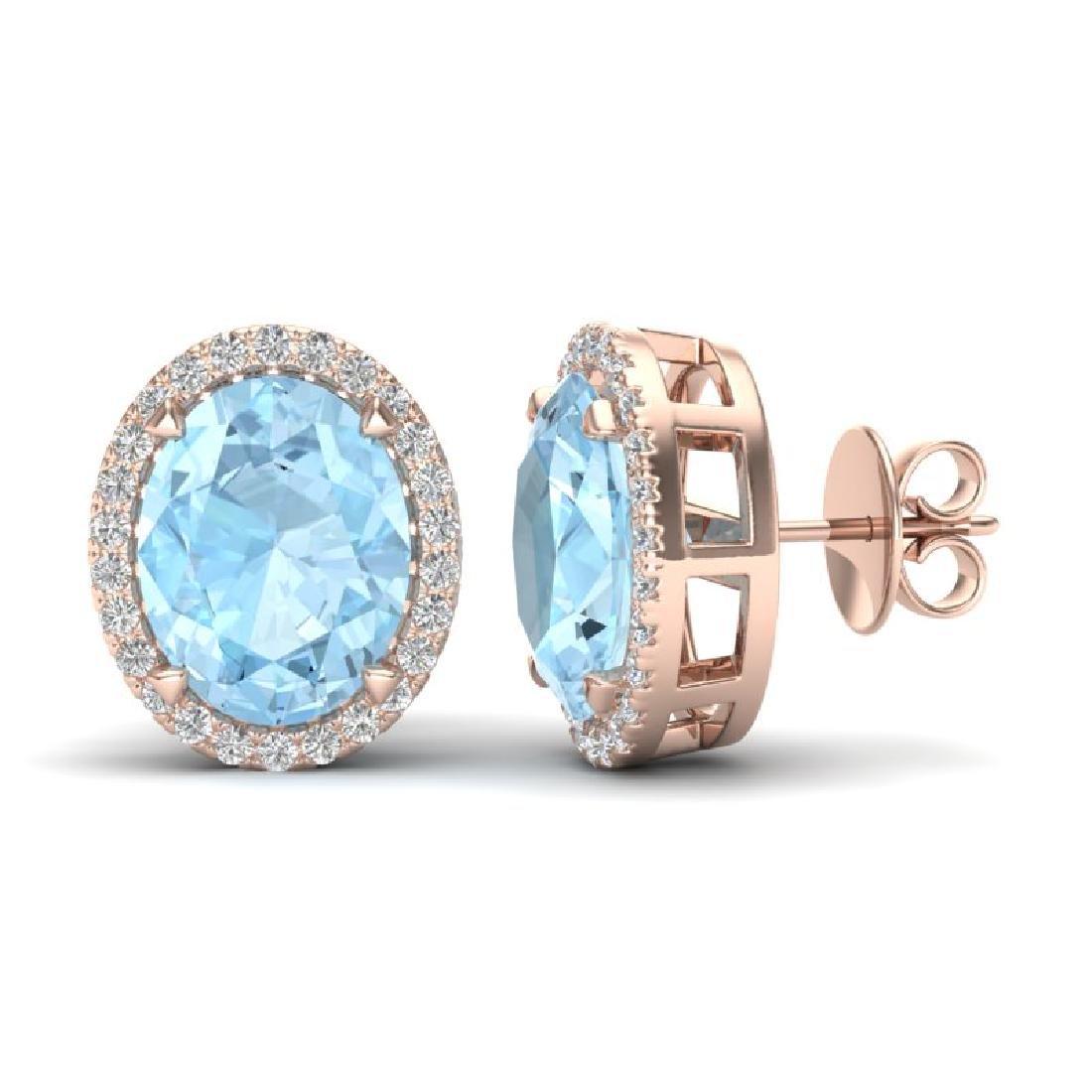 5.50 CTW Aquamarine & Micro VS/SI Diamond Halo Earrings - 2