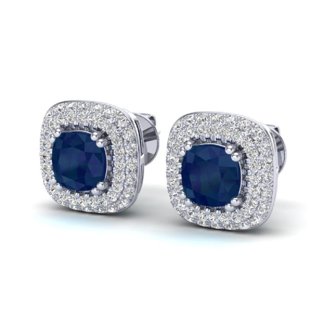 2.16 CTW Sapphire & Micro VS/SI Diamond Earrings Halo