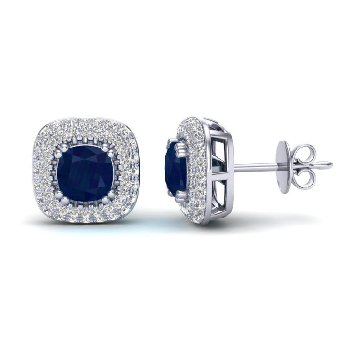 2.16 CTW Sapphire & Micro VS/SI Diamond Earrings Halo - 2
