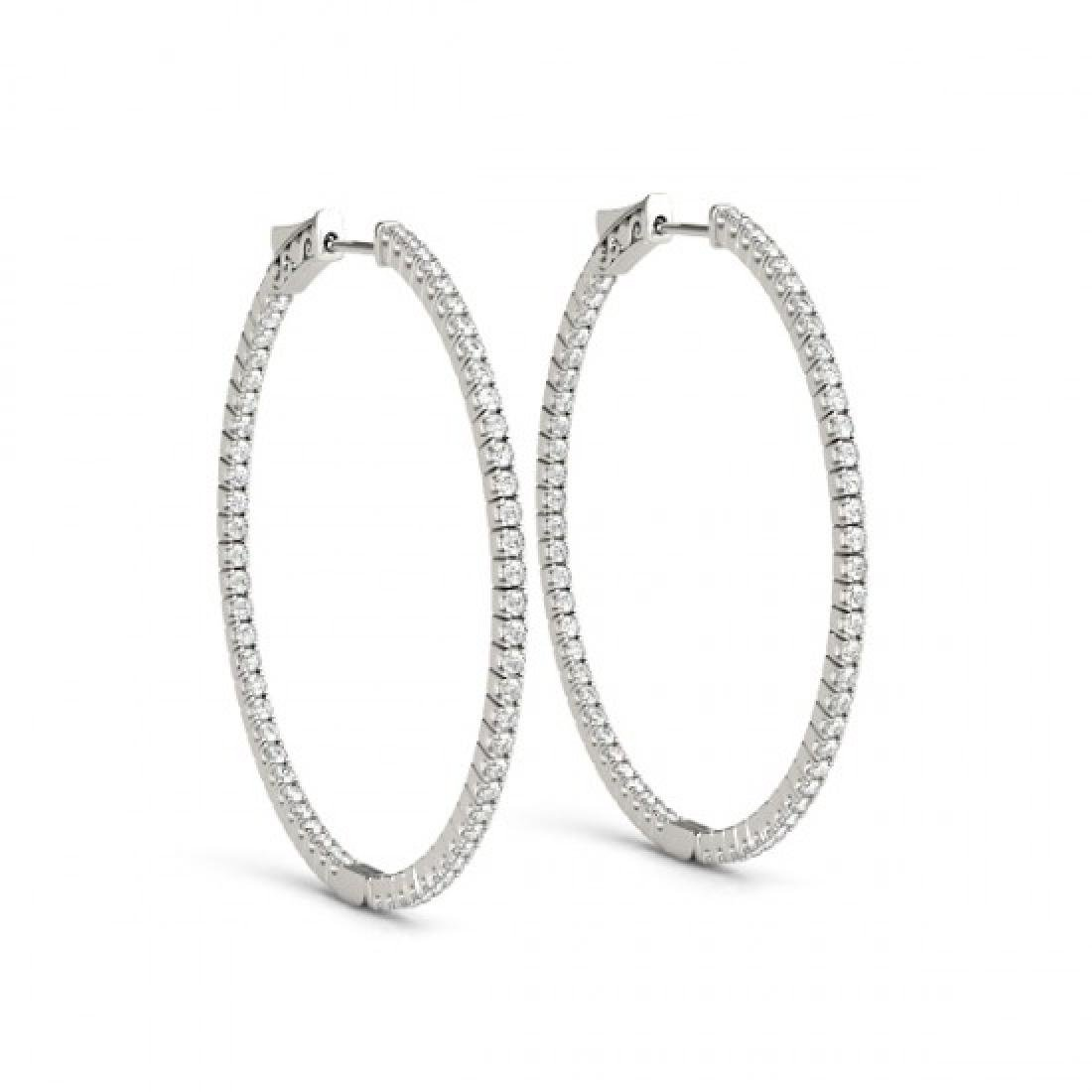 3.5 CTW Diamond VS/SI Certified 46 Mm Hoop Earrings 14K - 2