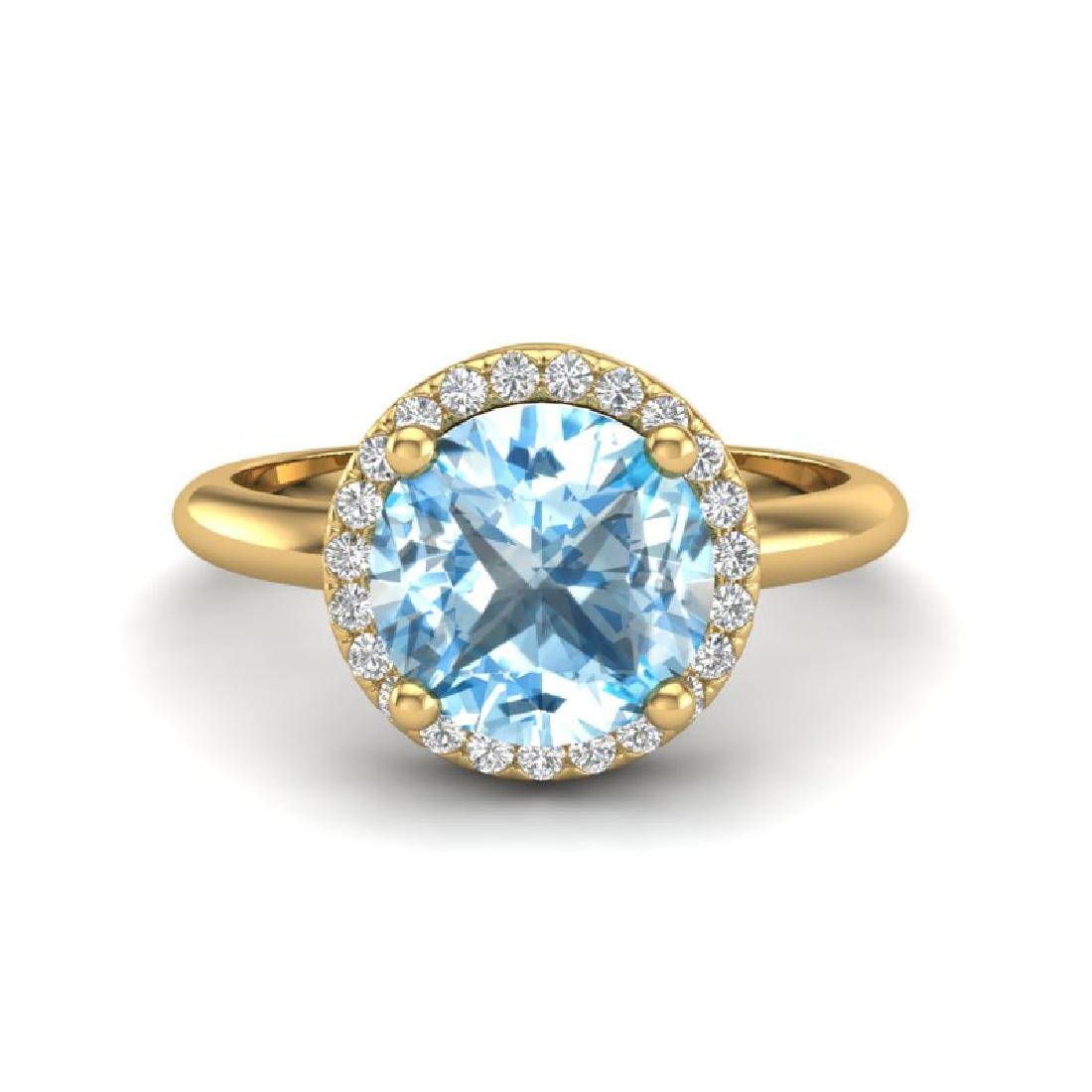 2.70 CTW Sky Blue Topaz & Micro VS/SI Diamond Ring