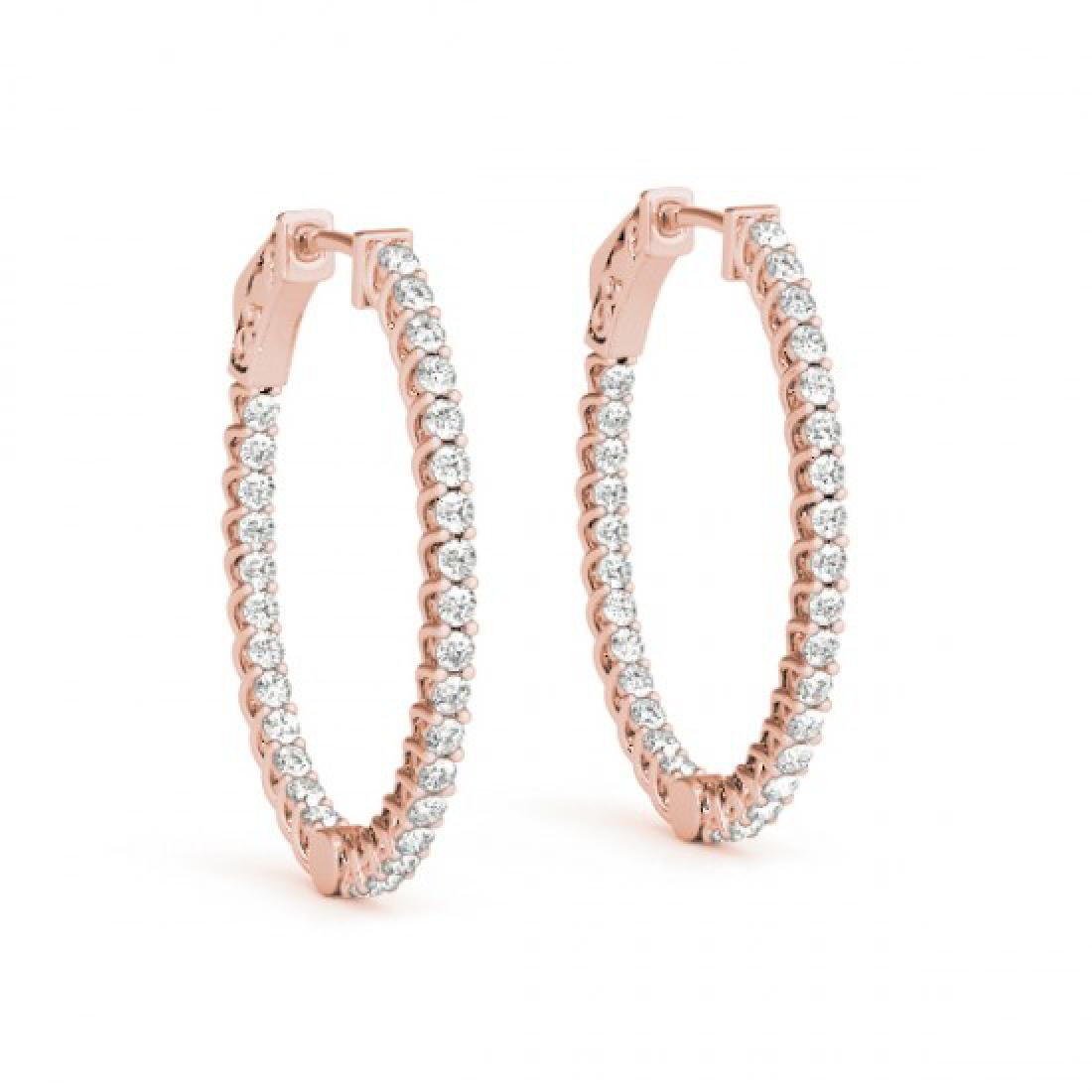 1.44 CTW Diamond VS/SI Certified 30 Mm Hoop Earrings - 2