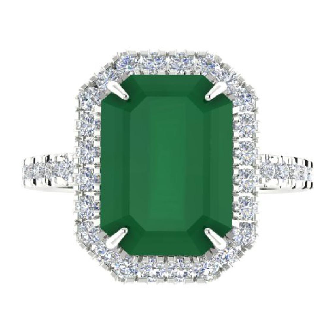 5.33 CTW Emerald And Micro Pave VS/SI Diamond Halo Ring