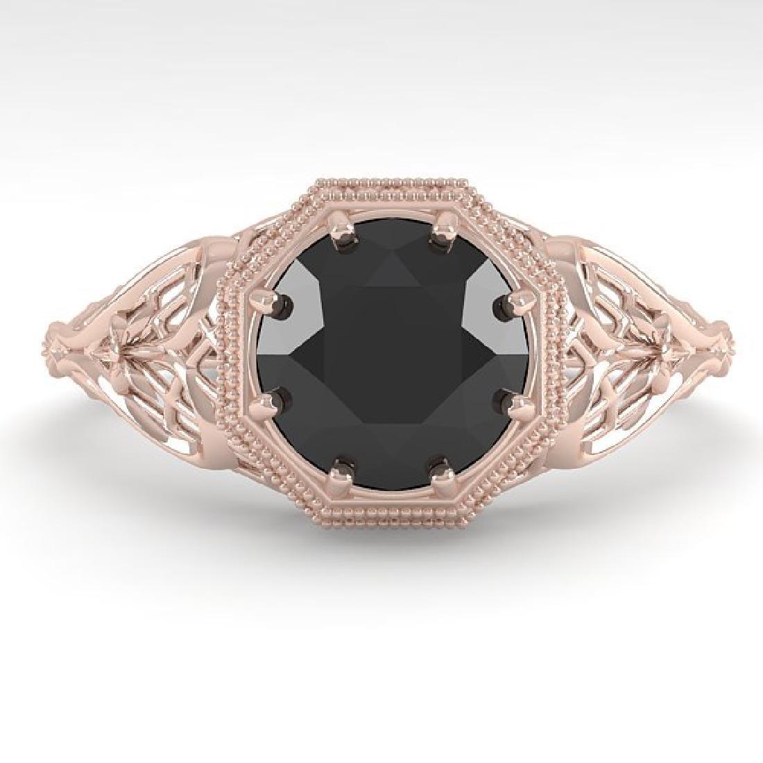 1.50 CTW Black Certified Diamond Ring Art Deco 14K Rose