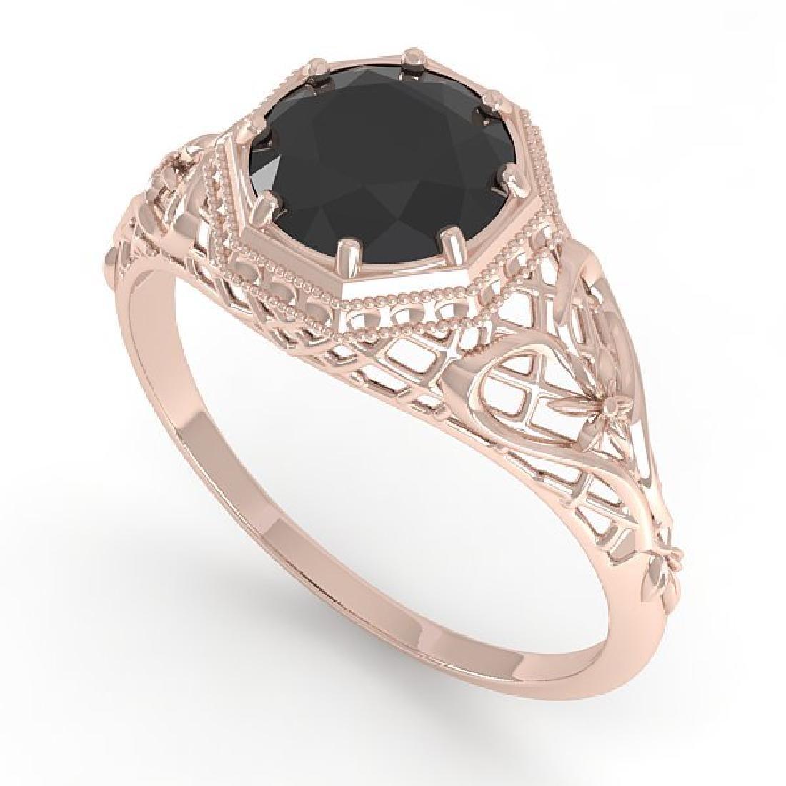 1.50 CTW Black Certified Diamond Ring Art Deco 14K Rose - 2