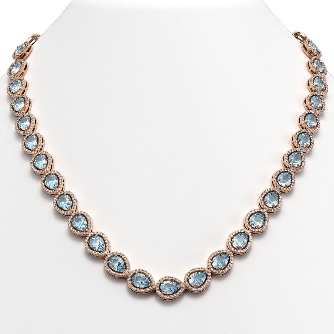 33.35 CTW Aquamarine & Diamond Halo Necklace 10K Rose