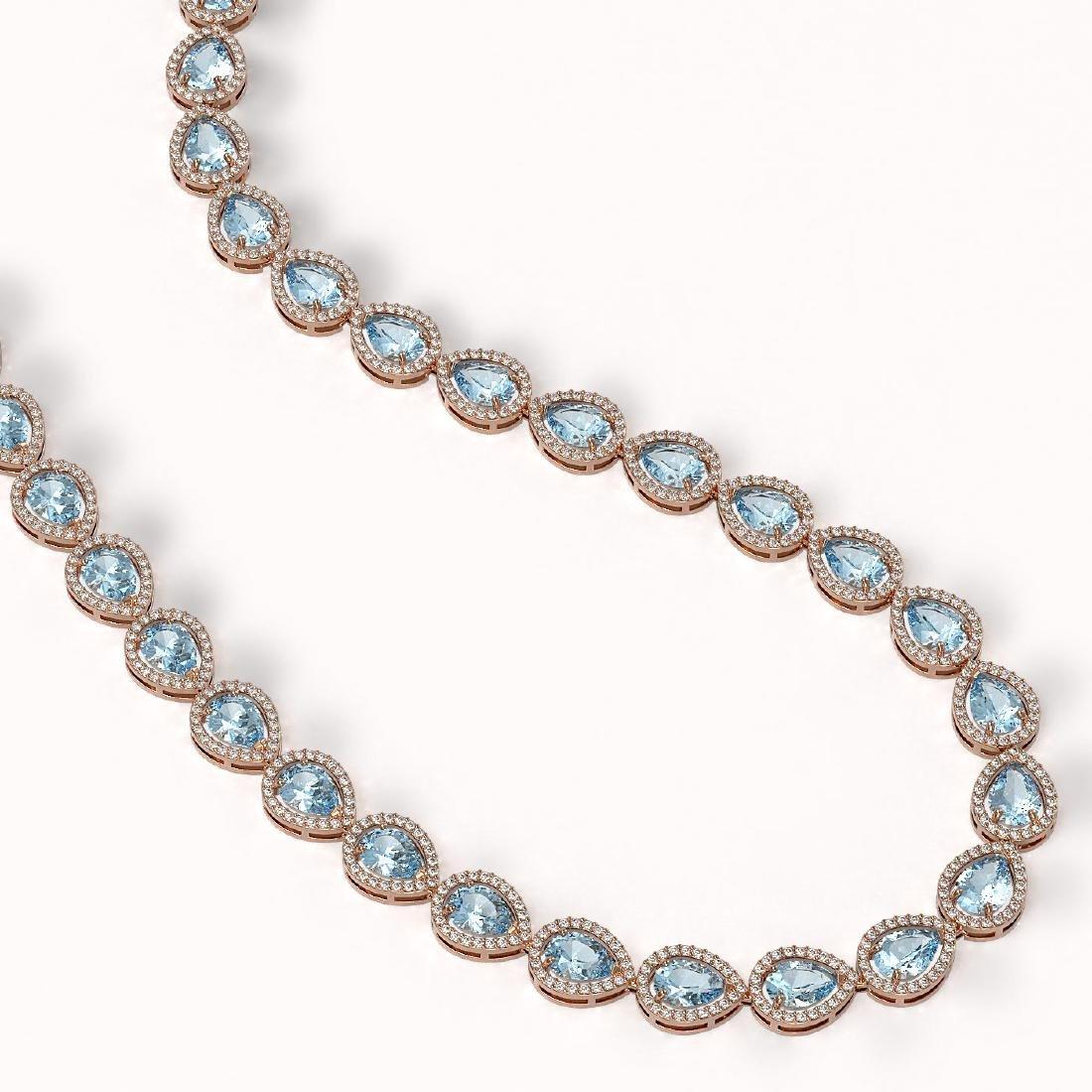 33.35 CTW Aquamarine & Diamond Halo Necklace 10K Rose - 2